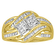 Two Forever Womens 1 CT. T.W. Princess White Diamond 10K Gold Engagement Ring