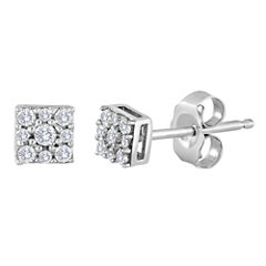 diamond blossom 1/10 CT. T.W. Diamond Sterling Silver Cluster Earrings
