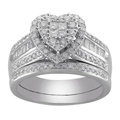 tw certified diamond heart bridal ring set - Jcpenney Wedding Ring Sets