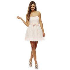 Bee Darlin Strapless Glitter Mesh Party Dress- Juniors
