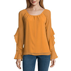 Heart N Soul Long Sleeve Round Neck Chiffon Blouse-Juniors
