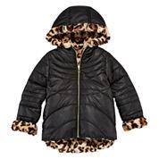Pistachio Reversible Long-Sleeve Faux-Fur Jacket - Toddler Girls 2t-4t
