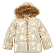 Pistachio Long-Sleeve Metallic Gold Puffer Jacket - Preschool Girls 4-6x