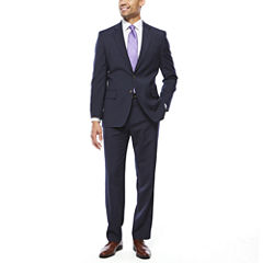 Stafford® Travel Stretch Navy Pin Stripe-Classic Fit