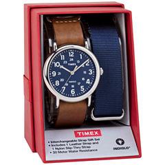 Timex Weekender 40 Box Set Mens Brown 2-pc. Watch Boxed Set-Twg015000jt