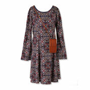 Speechless® Long-Sleeve Multi-Print A-Line Dress with Crossbody Bag - Girls 7-16