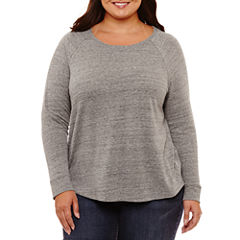 Liz Claiborne Long Sleeve Crew Neck T-Shirt-Womens Plus