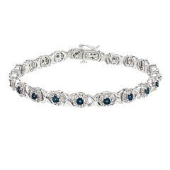 Womens 1 CT. T.W. Blue Diamond Sterling Silver Tennis Bracelet
