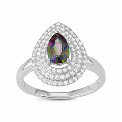 Womens Green Mystic Fire Topaz Sterling Silver Cocktail Ring