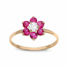 Girls 1/5 CT. T.W. Red Cubic Zirconia 10K Gold Delicate Ring