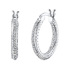 Crystal Sophistication™ Silver-Plated Crystal-Accent Hoop Earrings
