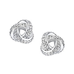 Crystal Sophistication™ Silver-Plated Crystal-Accent Knot Earrings