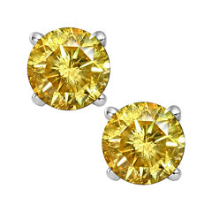 1/2 CT. T.W. Color-Enhanced Yellow Diamond Stud Earrings