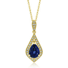 Womens Blue Sapphire Gold Over Silver Pendant Necklace