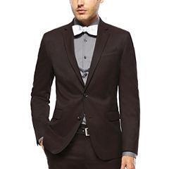 JF J. Ferrar® Burgundy Twill Suit Jacket - Super Slim Fit