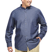 Claiborne® Long-Sleeve Banded-Collar Chambray Shirt