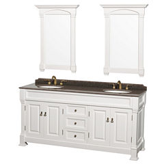 Andover 72 inch Double Bathroom Vanity; Imperial Brown Granite Countertop; Undermount Oval Sinks; and 28 inch Mirrors
