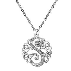Personalized Diamond-Accent Sterling Silver Single Initial Pendant Necklace