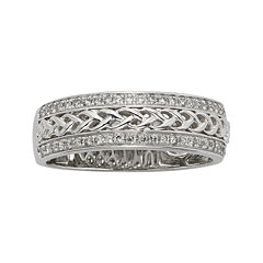 1/4 CT. T.W. Diamond Braided 14K White Gold Wedding Band