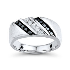 Mens 1/2 CT. T.W. White and Color-Enhanced Black Diamond Sterling Silver Comfort Fit Ring