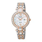 Seiko® Tressia Womens Diamond Rose-Tone Stainless Steel Solar Watch SUT184