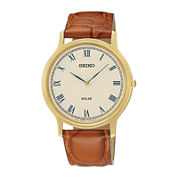 Seiko® Mens Brown Leather Strap Solar Watch SUP876