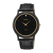 Seiko® Mens Diamond-Accent Black Leather Strap Solar Watch SUP875