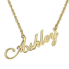 Personalized 14K Gold Over Sterling Silver Script Name Necklace