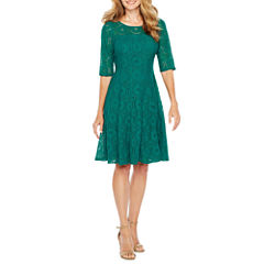 Rabbit Design 3/4 Sleeve Lace Fit & Flare Dress