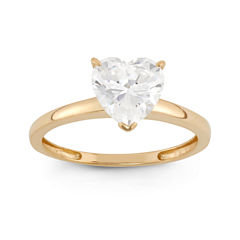 Diamonart Womens 1 3/4 CT. T.W. Lab Created Heart White Cubic Zirconia 10K Gold Engagement Ring