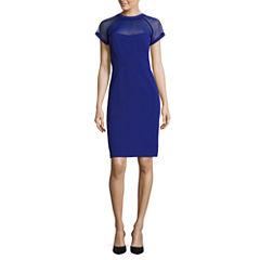 Scarlett Short-Sleeve Illusion Sheath Dress