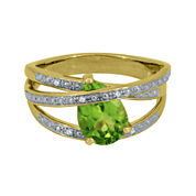 Pear-Shaped Genuine Peridot and Diamond-Accent Criss-Cross Ring