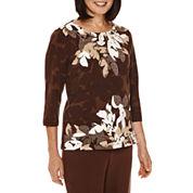 Alfred Dunner® Santa Fe 3/4-Sleeve Floral-Print Top