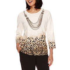 Alfred Dunner® Madison Park 3/4-Sleeve Sweater with Necklace