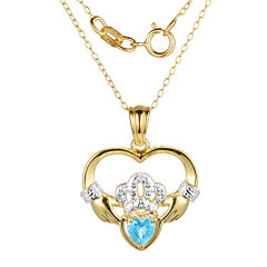 Heart-Shaped Genuine Blue Topaz and Diamond-Accent Claddagh Pendant Necklace