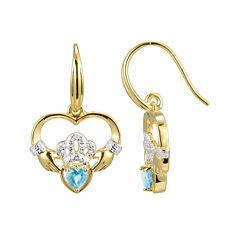 Heart-Shaped Genuine Aquamarine and Diamond-Accent Claddagh Earrings