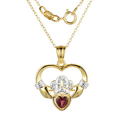 Heart-Shaped Genuine Garnet and Diamond-Accent Claddagh Pendant Necklace