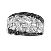 1/2 CT. T.W. White and Color-Enhanced Black Diamond Sterling Silver Ring