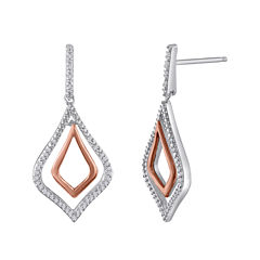 1/5 CT. T.W. Diamond Sterling Silver and Rose Gold Drop Earrings