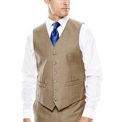 Stafford® Travel Brown Sharkskin Suit Vest - Classic Fit