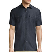 Claiborne® Short-Sleeve Military Woven Shirt
