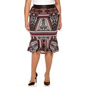 Bisou Bisou® Flounce Pencil Skirt - Plus