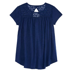 Arizona Crochet Yoke High-Low Top - Girls 7-16 and Plus