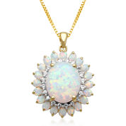 Lab-Created Opal & White Sapphire Drop Pendant Necklace