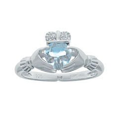 Heart-Shaped Lab-Created Aquamarine and Diamond-Accent Sterling Silver Claddagh Ring