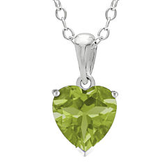 Heart-Shaped Genuine Peridot Sterling Silver Pendant Necklace