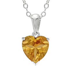 Heart-Shaped Genuine Citrine Sterling Silver Pendant Necklace