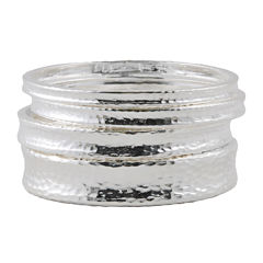 Art Smith by BARSE 3-pc. Hammered Silver-Plated Bangle Set