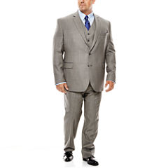 Stafford® Travel Gray Sharkskin Suit Separates - Portly Fit