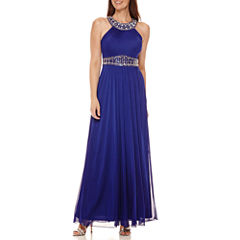 One by Eight Sleeveless Beaded Halter Gown